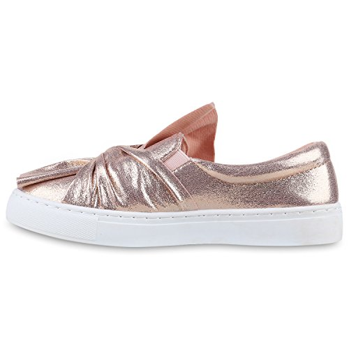 Stiefelparadies Bequeme Damen Slipper Sneaker Slip-Ons Leder-Optik Metallic Schuhe Schleifen Flats Denim Velours Flandell Rose Gold Schleife