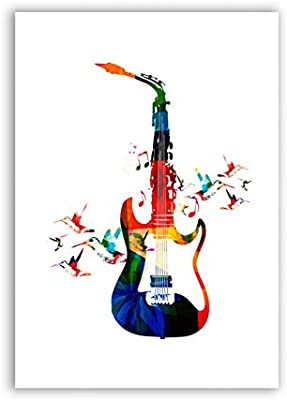 KAOZV Pintura Colorida música Guitarra Cartel Lienzo Arte ...