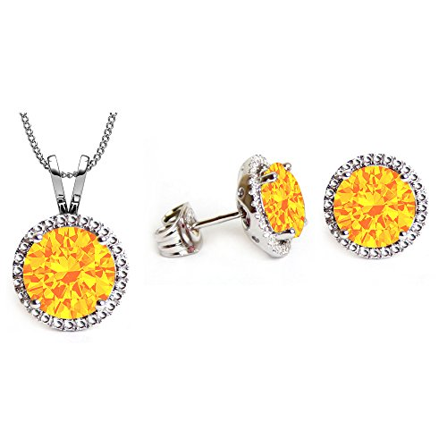 Rhodium Plated Topaz Color Pendant & Earrings Set With 18