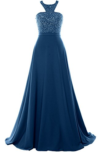 2018 Gown Long Halter Evening Formal Beading Prom Teal Dress Party Chiffon Macloth