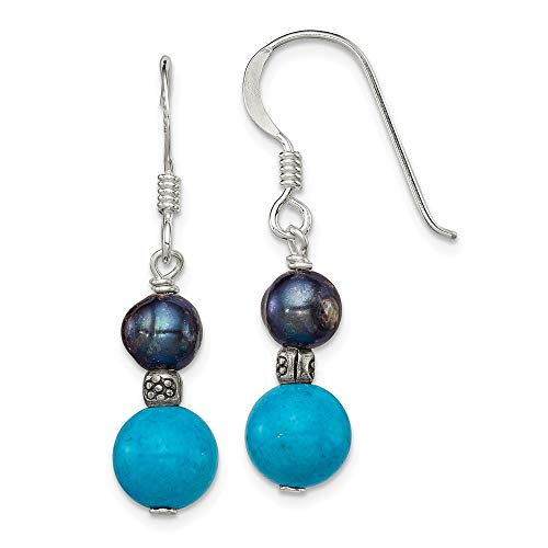 925 Sterling Silver Freshwater Cultured Black Pearl Blue Turquoise Drop Dangle Chandelier Earrings Fine Jewelry Gifts For Women For Her ()