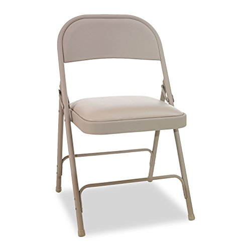 Alera ALEFC94VY50T Steel Folding Chair with Two-Brace Support, Padded Seat, Tan (Case of 4)