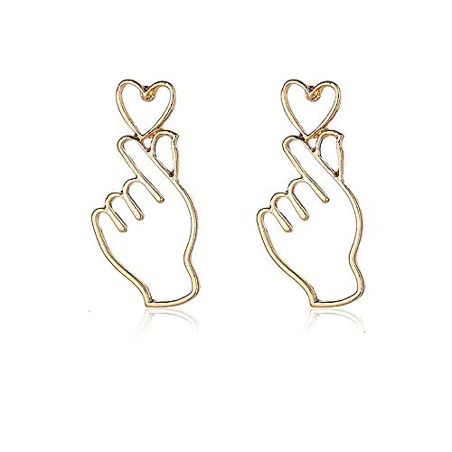 Hollow Metal Finger Heart Dangle Earrings For Women European Fashion Jewelry Accessories (Gold)