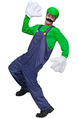 Luigi Costumes Mens (Video Game Guy Costume - Standard - Chest Size 33-45)