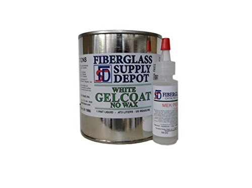 (Fiberglass Supply Depot Inc. White Gelcoat - NO Wax - Pint with 15cc Hardener (MEKP))