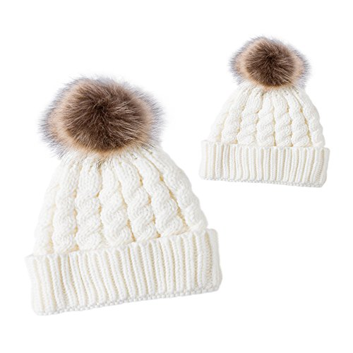 2 Pcs Parent-Child Boys & Gilrs Matching Winter Crochet Fur Wool Beanie Cap Hat