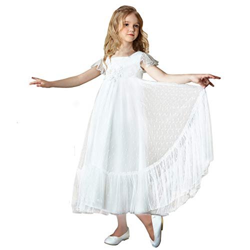 TYHTYM White Flower Girl Dresses Lace Appliques Flutter Sleeves Pageant Wedding Party First Communion A-line Gown 2-11Y