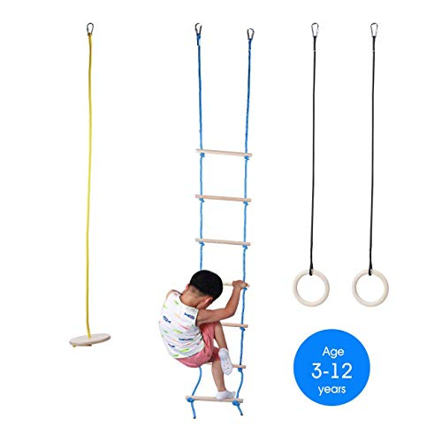Tuahoo 3-in-1 Wooden Jungle Gym Monkey Bars for Kids Playset - Climbing Rope Ladder, Gymnastics Rings , Disc Rope Swing Seat for Backyard Outdoor Indoor Gym Swing Playground Climber Set
