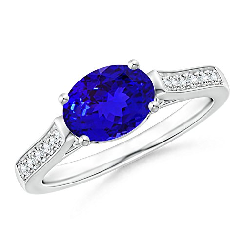 East-West Oval Tanzanite Solitaire Ring with Diamonds in Platinum (8x6mm ()