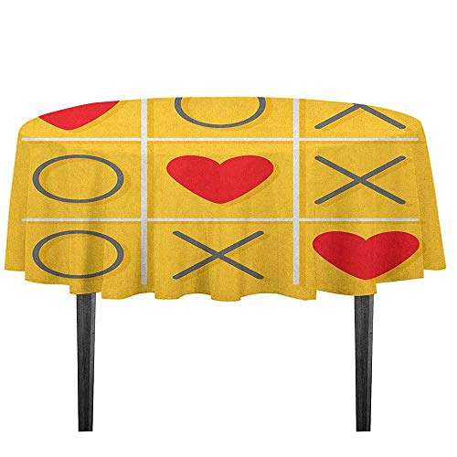 kangkaishi Love Washable Tablecloth Tic Tac Toe Game with XOXO Design Let Me Kiss You Valentines Romantic Illustration Desktop Protection pad D55.11 Inch Yellow -