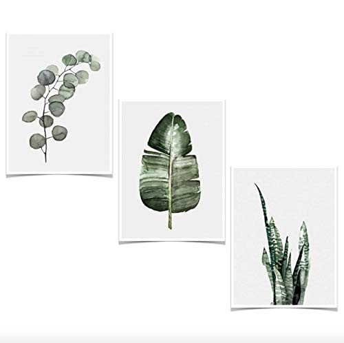 Plant Leaves Wall Art Decor Printing Canvas Poster Set of 3 Pieces Leaf for Baby Kids Bedroom LivingRoom Cafe Home Decorations(type1, 12