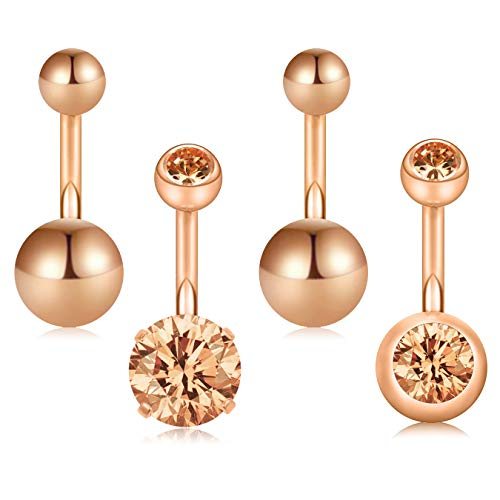 D.Bella 14G 10mm 3/8 Inch 316L Surgical Steel CZ Ball Short Belly Button Rings Earring Navel Belly Rings 4pcs
