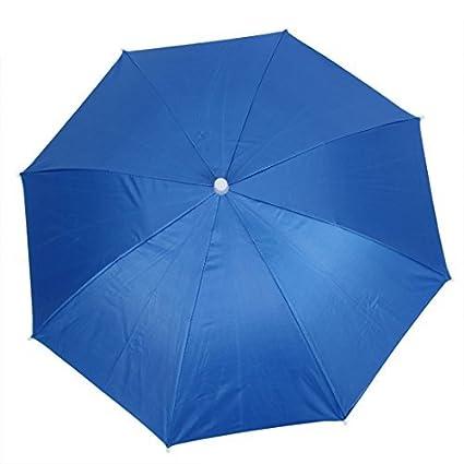 eDealMax Pesca Deportiva Contra Los rayos UV paraguas plegable Cinta elástica Sombrero Azul