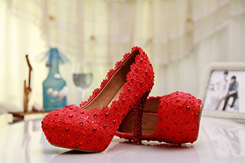 Minishion Womens Slip-on Handgemaakte Satijn Bruiloft Feestavond Prom Schoenen Rood-12cm Hak
