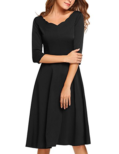 HOTOUCH Women's V neck Retro Below Knee A Line Dress (Black S)