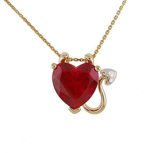 2.2 Carat Heart Shaped Synthetic Ruby Devil Pendant in 10k Yellow Gold