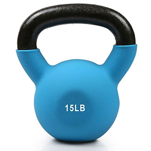 RitFit Neoprene Coated Solid Cast Iron Kettlebell - Great for Full Body Workout, Cross-Training, Weight Loss & Strength Training (5/10/15/20/25/30/35 LB) (15LB(Light Blue))