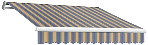 Awntech 8-Feet Maui-LX Left Motor with Remote Retractable Acrylic Awning, 84-Inch Projection, Dusty Blue/Tan Multi Colored (Motor Retractable Left Maui Awning)