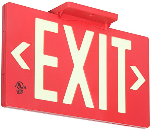(UL Listed 50 foot Jessup Glo Brite 7050-B 8.75-x-15.5-Inch Single Sided Exit Sign with Frame, Red (Mounts 4 ways, includes bracket and arrows))