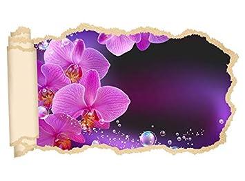 3d Wandtattoo Orchidee Blume Lila Rosa Wasser Tapete Wand Aufkleber