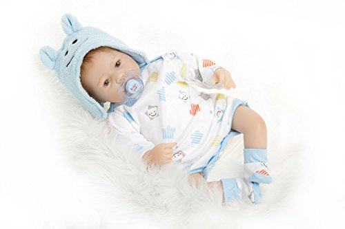 NPK Collection Reborn Baby Doll realistic baby dollsVinyl Silicone Babies 22inch 55cm Doll Newborn real baby doll Life Like Reborn Pacifier Christmas Gift Set