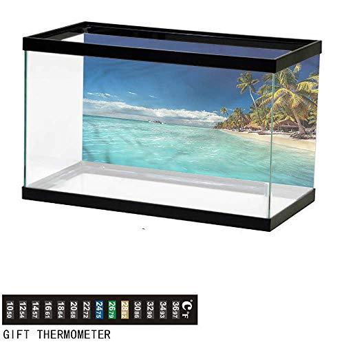 (Suchashome Fish Tank Backdrop Ocean,Landscape of Paradise Island,Aquarium Background,30