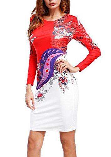 Coolred Femmes Ras Du Cou À Manches Longues Maigre Moulante Imprimé Mini Rouge Robe