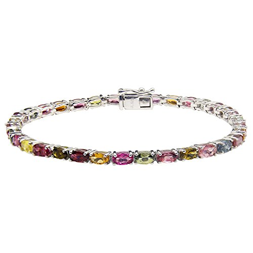 UP LINK Women's Multi Color Tourmaline Rhodium Plated Bracelets by UP LINK
