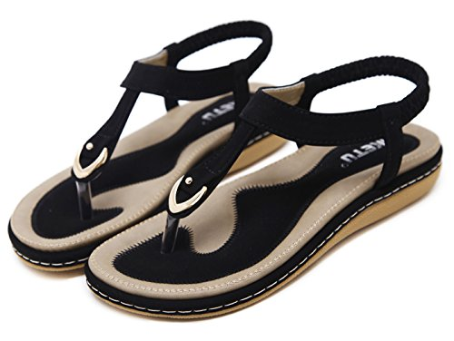 Soft Sexy Non Summer black Classic Bohemia slip Leather Thong Comfortable Shoes Slippers Beautiful Sandals Women's Ubeauty SqY1ff