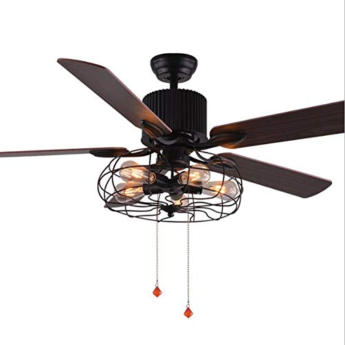 Isle Indoor Ceiling Fan Blades - GHKLGY 52-inch, Industrial Retro Style Ceiling Fan Light, recirculating Ventilation Invisible Fan Light/Living Room Bedroom