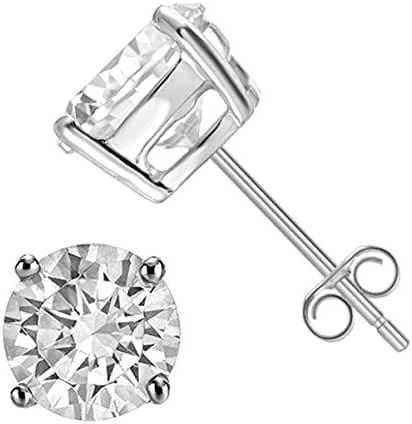 925 Sterling Silver Round Solitaire Cz Push Back Stud Earrings Rhodium Plated