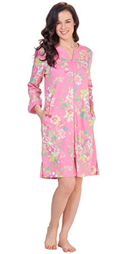 Plus Knit Robes - Miss Elaine Short Zip Front Long Sleeve Robe In Blushing Bouquet (3X (26-28), Pink Floral)