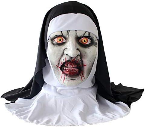 SAFDPCXV Máscara de Monja, máscara de Maquillaje de Terror de ...