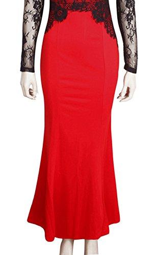 Wenseny Mujer Lace FTB Manga Larga El Vestido Del Lápiz Vestido Maxi Fishtail Vestido De Noche Rojo