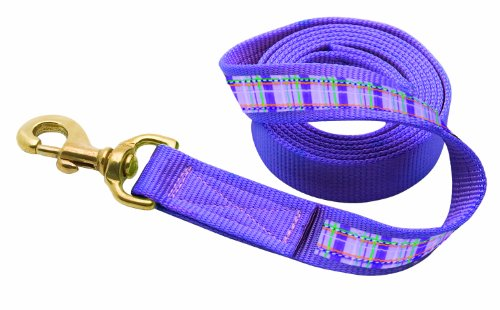 (Perri's Leather Ribbon Lead with Snap, Lilac Lilac Plaid, 6-Feet)