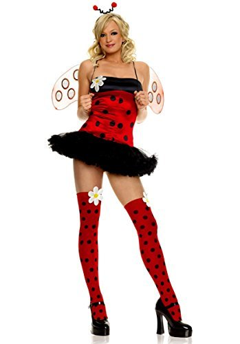 Leg Avenue Women's 4 Piece Daisy Bug Costume Includes Head Piece With Dot Stocking And Daisy AppMultiMedium/Large