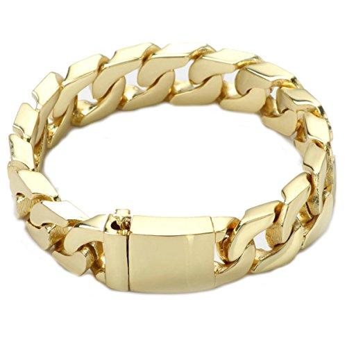 Diamond Cut Heart Link Bracelet - Gold Filled 14kt Diamond cut Cuban Link Chain Bracelets 14MM Warrantied USA Made! (8)
