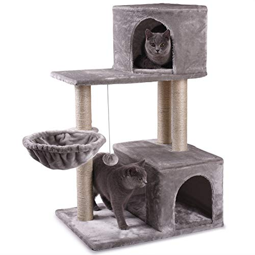 JS NOVA JUNS Cat Tree, Cat Tower with Sisal-Covered Scratching Posts Basket Fur Ball and 2 Cozy Condos Cat Furniture for…