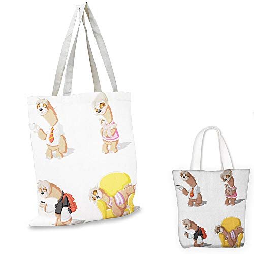 portable shopping bag Sloth Cartoon Lazy Sloths Family Father Mother Baby Resting Drinking Coffee Going to Work Multicolor canvas lunch bag (Partridge Family Shopping Bag)