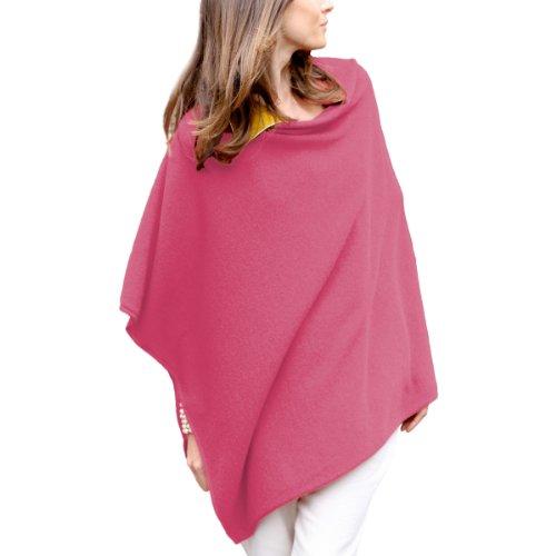 Parisbonbon Women's 100% Cashmere Crew Neck Draped Poncho Color Hot Pink Size ()