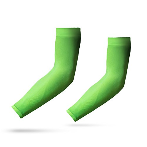 YISEVEN Kid's Sports Compression Arm Sleeves Basketball Shooting Shooter Sun UV Protection Cooling Sleeves Golf Football Accessories Baseball Running 3/4 Shirts Boys Girls Green(1 Pair)]()
