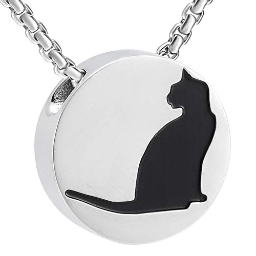 Katie Collection by Urnseller Round Cat pet urn Jewelry Keepsake Necklace with Chain for Ashes for Men and Women