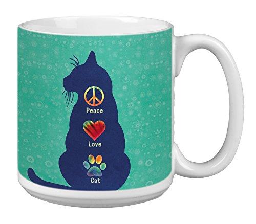 Tree-Free Greetings Extra Large 20-Ounce Ceramic Coffee Mug, Peace Love Cat Themed Pet Lover Art (XM63182)