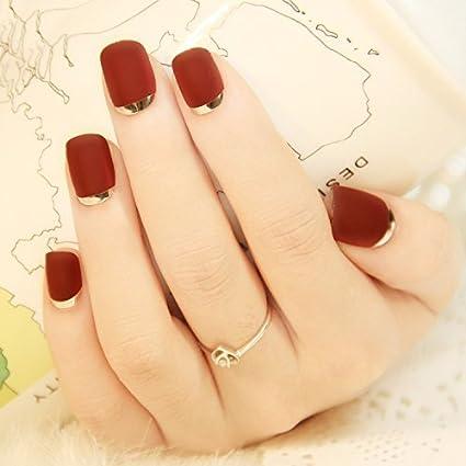 Nicedeal 24 piezas mate con acrílico francés metálico falso Fake Full Nail TipArt Borgoña herramientas de maquillaje y cepillos para belleza: Amazon.es: ...