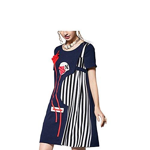 YoungG-3D Women 3D Kite Striped Blue Dress Cartoon