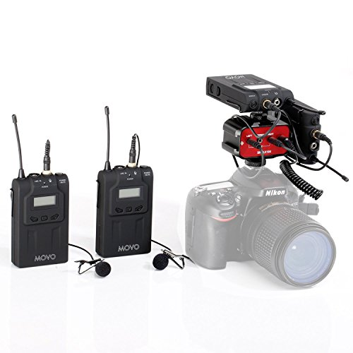(Movo Dual Wireless UHF Lavalier Microphone Bundle with 2 Transmitters, 2 Receivers and Audio Mixer for DSLR Cameras (330' Range))