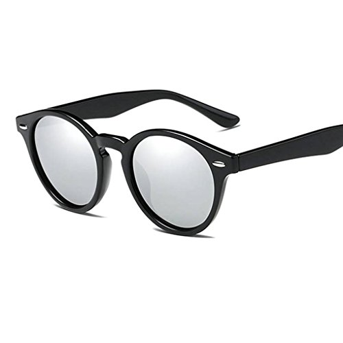 Hombres Gafas Coolsir lentes gafas en polarizadas de Marco Mujeres de UV400 forma unisex 3 retro las conducción protección PC Ronda de sol de ZrZqw7