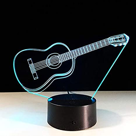 Luz De Guitarra Eléctrica Ilusión Lámpara 3D Led 7 Cambio De Color Usb Sensor De Toque Luz De Escritorio Luz De Noche Luz: Amazon.es: Iluminación