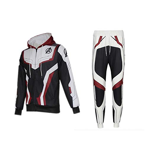 New Avengers Fashion Sweater Avengers Pants Sports Set Cosplay Costumes Men Clothing (Small, Black and White)]()