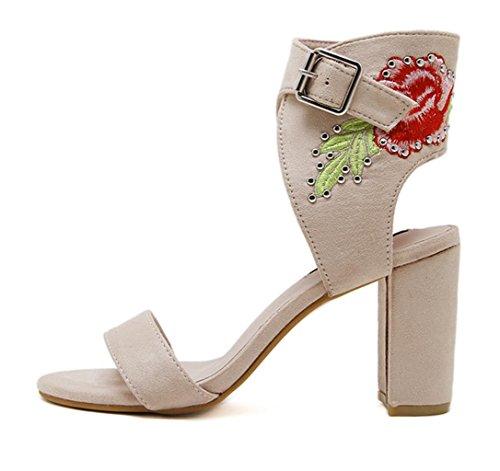 HETAO Persönlichkeit Frauen Gestickte Blume Strappy Sandalen Damen Peep Toes Party Hochzeit Bankett High Heels Geschenk Des Mädchens Color